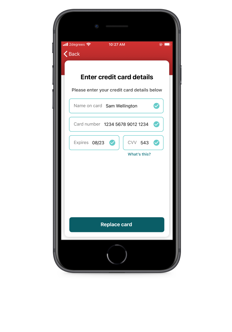 'Enter credit card details' page of the Snapper iOS app.