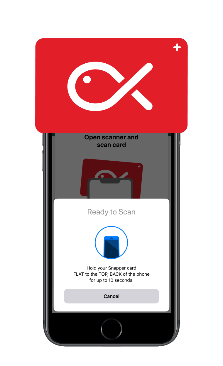 Card being held at the front, top of the phone with the phone scanner open